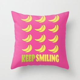 KEEP SMILING - BANANA BUNCHES Throw Pillow