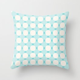 White circles over blue Throw Pillow