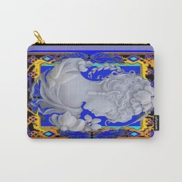 Grey Lady In Modern  Blue-Gold Pattern Abstract Carry-All Pouch