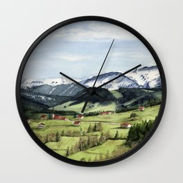 Landscape in the Alps Wall Clock
