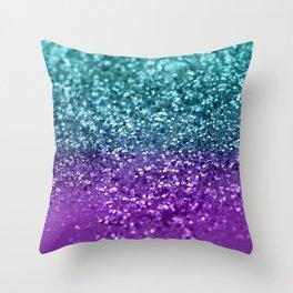Purple Teal MERMAID Girls Glitter #1 #shiny #decor #art #society6 Throw Pillow