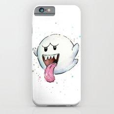 Boo Ghost Mario Watercolor Videogame Geek Painting iPhone 6 Slim Case