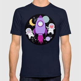 Purple Pink Cat Astronaut Outer Space Pattern T-shirt