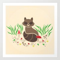 raccoon Art Prints featuring Raccoon by Lynette Sherrard Illustration and Design