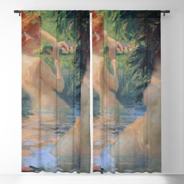 French Countryside, Two Women Bathing in Afternoon Sunlight, nude portrait painting by Antoine Calbet Blackout Curtain