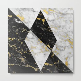 Diamond // Gold Flecked Black & White Marble Metal Print