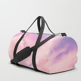 Pink And Purple Fluffy Colorful Clouds Cotton Candy Texture Duffle Bag