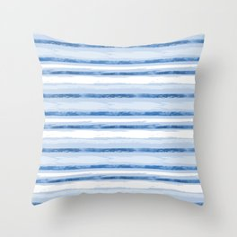 Watercolor Silent Sea Blue Stripes Throw Pillow