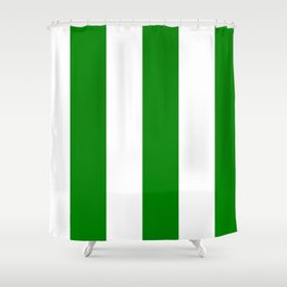 Wide Vertical Stripes - White and Green Shower Curtain