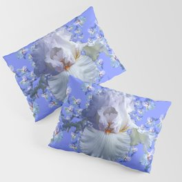 BLUE-WHITE IRIS ABSTRACT PATTERN Pillow Sham