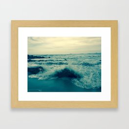Waves crashing against rocks | Beach Framed Art Print