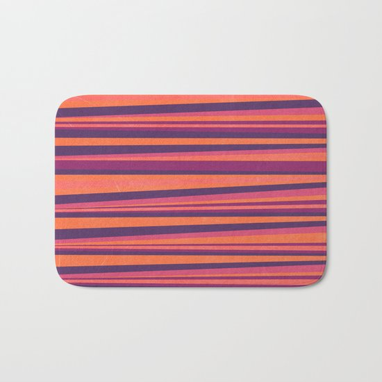 Happy Horizontal Lines Pink Version Bath Mat