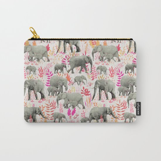 Sweet Elephants in Pink, Orange and Cream Carry-All Pouch