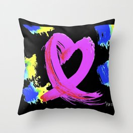 Pink Heart Ribbon (with Tie-Dye Blue-Yellow) for Breast Cancer Research by Jeffrey G. Rosenberg Throw Pillow