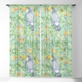 Toucan Tropical Leaves Pattern Sheer Curtain