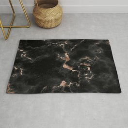 Chic abstract rose gold black elegant marble Rug
