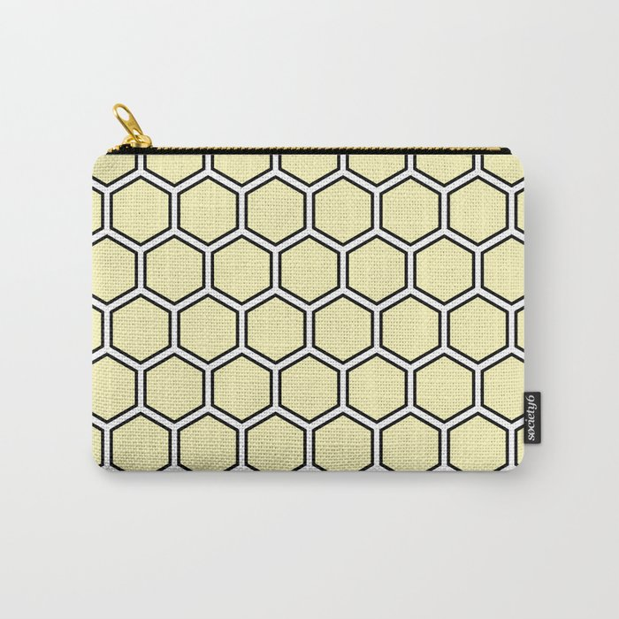 Yellow, white and black hexagonal pattern Carry-All Pouch