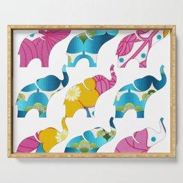 Vintage Pink Floral & Blue Elephant Print Serving Tray