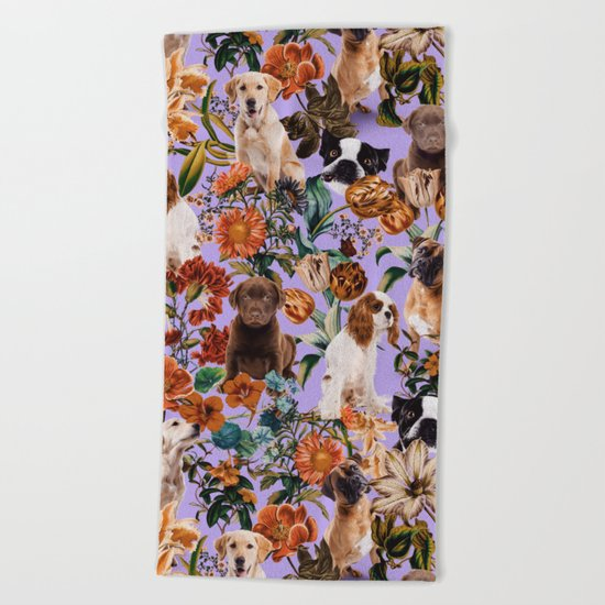 Dog and Floral Pattern Beach Towel