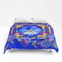 DECORATIVE BLUE PANSY & VINING  MORNING GLORIES Comforters