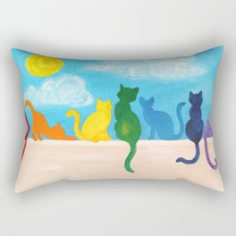Catch A Rainbow - Cats on a Wall Rectangular Pillow