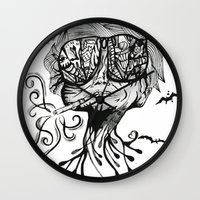fear and loathing Wall Clocks featuring Fear & Loathing by Saravo Studio