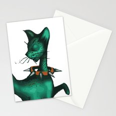 Green Spotted Kitty Stationery Cards