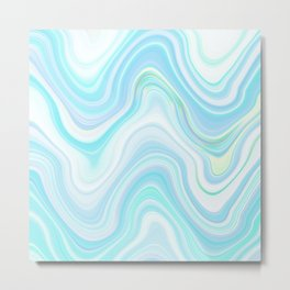 Cool Pastel Blue Lava Marble  #marble #society6 #abstractart Metal Print