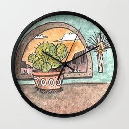 New Mexico Sunset With Cactus & Cross Wall Clock