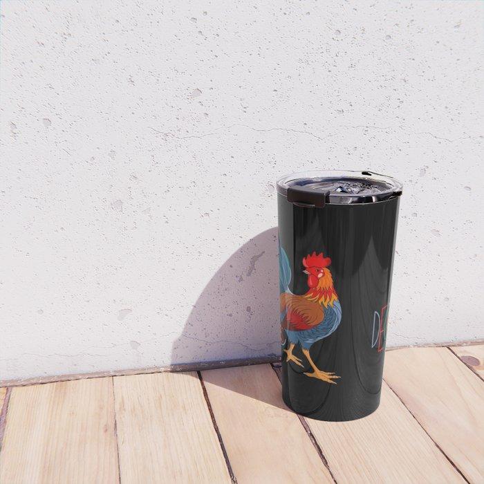 DeColores Cursillo Rooster On Black Travel Mug