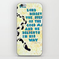 bible verse iPhone & iPod Skins featuring Psalm 37:23 Bible verse Poster  by ArtistAdron