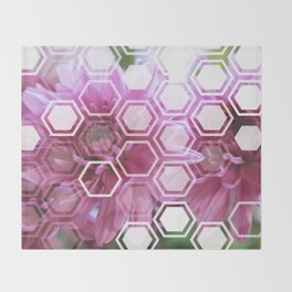 Flowers with Hexagon Overlay Throw Blanket