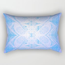 Blue and White Geometric Icy Lace Pattern Rectangular Pillow