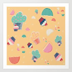 Cupcake yellow Art Print