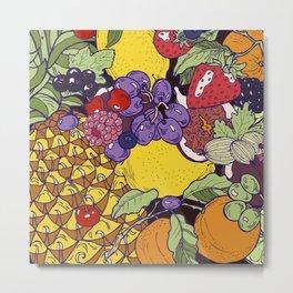 Hand drawn fruits and berries Metal Print