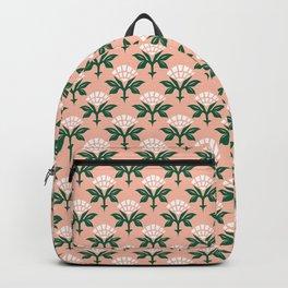 Ajrak Woodblock Floral Print Backpack