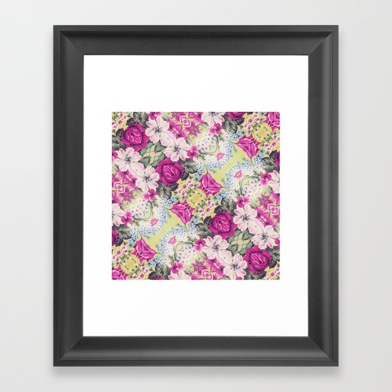 Trendy Vintage Purple Teal Floral Fashion Pattern Framed Art Print