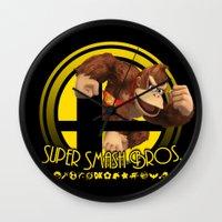 donkey kong Wall Clocks featuring Donkey Kong - Super Smash Bros. by Donkey Inferno