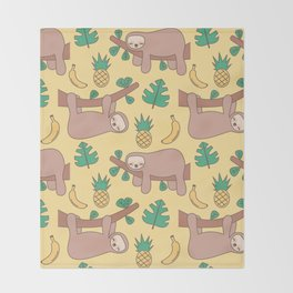 cute cartoon sloth seamless pattern background with exotic leaves, pineapples and bananas Throw Blanket