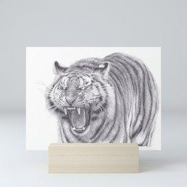 Bengal Tiger Roaring - Big Wild Cat Animal Artwork Drawing Mini Art Print