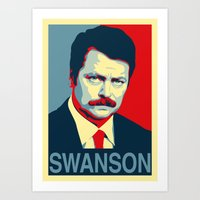 parks and rec Art Prints featuring Ron Swanson (Parks & Rec) 'Hope' Poster Parody by posteritty