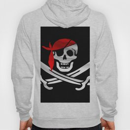 Jolly Roger pirate waving flag with skull and swords with red bandana on a silk drape  Hoody