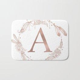 Letter A Rose Gold Pink Initial Monogram Bath Mat