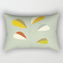 Mid Century Modern Single Leaf Pattern 1. Vintage green Rectangular Pillow