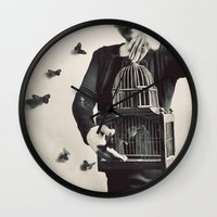 butterfly Wall Clocks featuring The Butterfly Releaser by elle moss