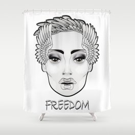HE SHE (white collection) Shower Curtain