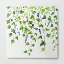 Ivy and Lavender Watercolor Metal Print