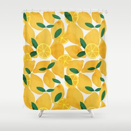 lemon mediterranean still life Shower Curtain