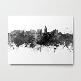 Lincoln skyline in black watercolor Metal Print