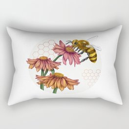 Bee and Montreal Echinacea Rectangular Pillow